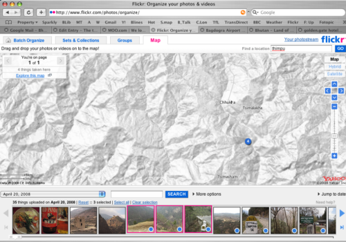Screenshot of the Flickr Organizer map of Bhutan for the journey from Phuentsoling to Paro