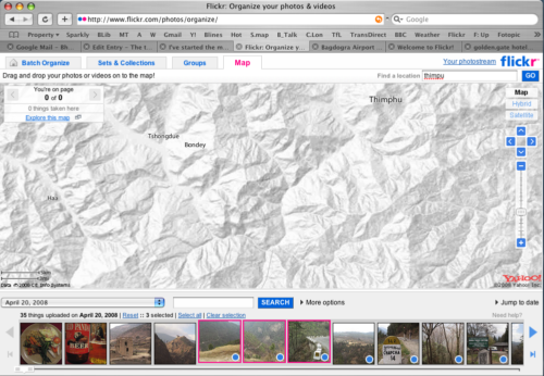 Screenshot of the Flickr Organizer map of Bhutan for the journey from Paro (which has the main airport) to Thimpu (the capital)