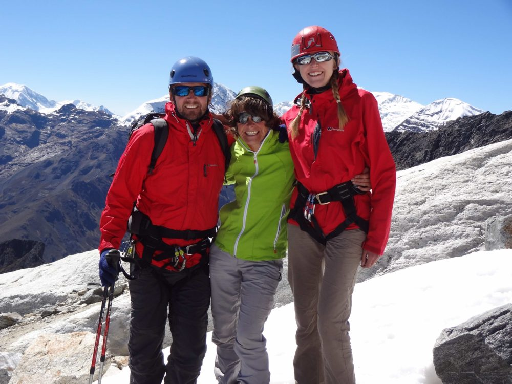 Peru 2014 - Crampons and ice axes, helmets and rope: Mike, Val and me on Nevado Viscacha