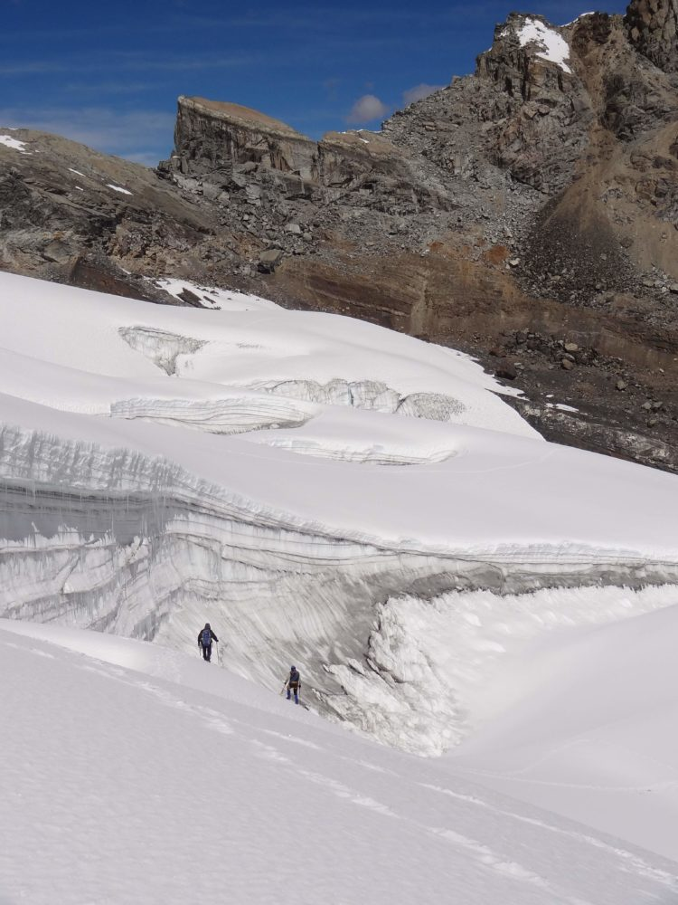 Peru 2014 - Dave and Melky crossing the Pastoruri glacier
