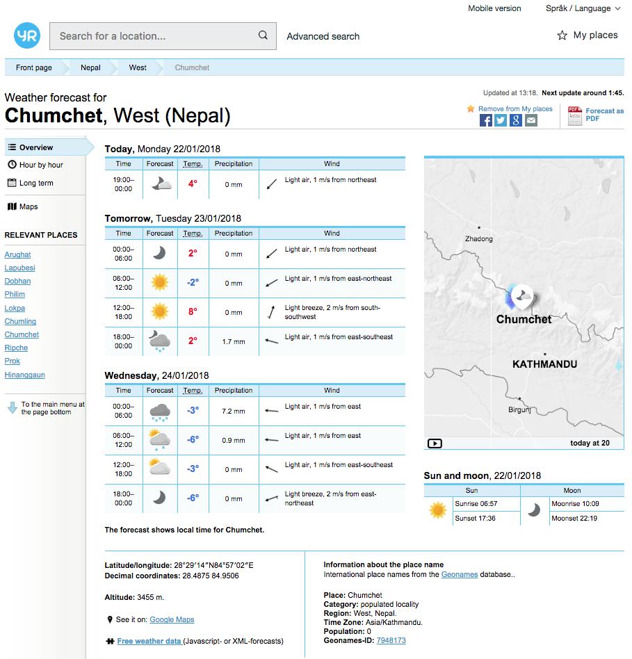Yr.No screenshot - Weather Forecast for Chumchet, Nepal