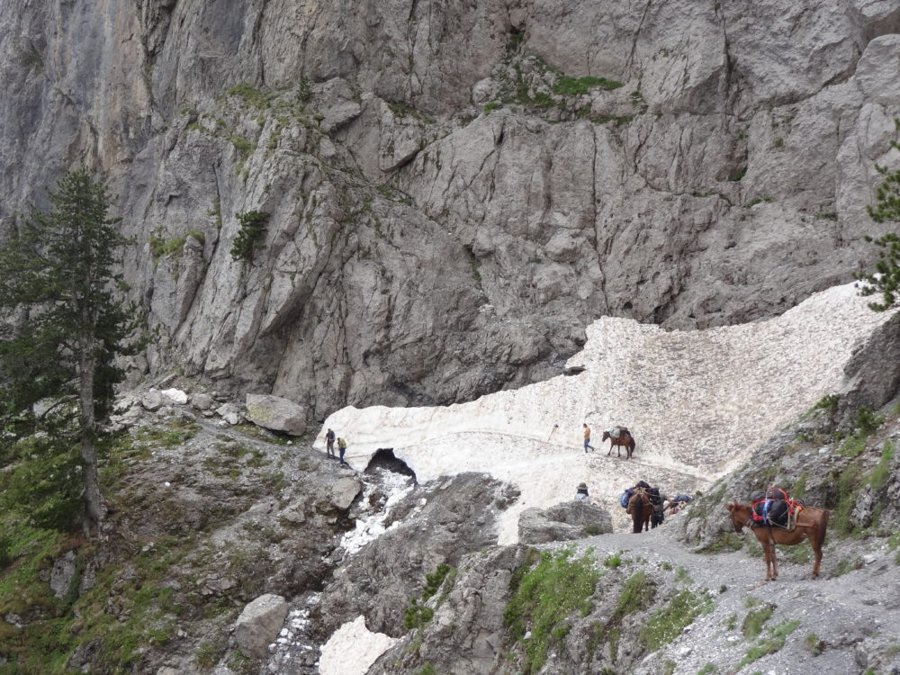 Snow ledge crossing on the approach to the Qafa e Valbonës / Valbona Pass, Albania (June 2018)