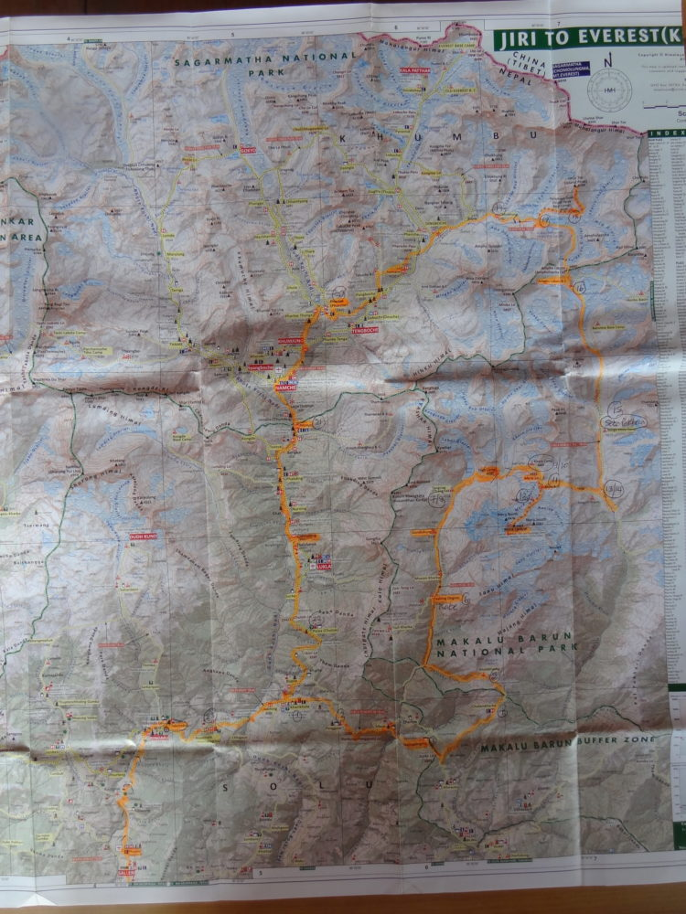 Map with our anticlockwise route from Phaplu and back