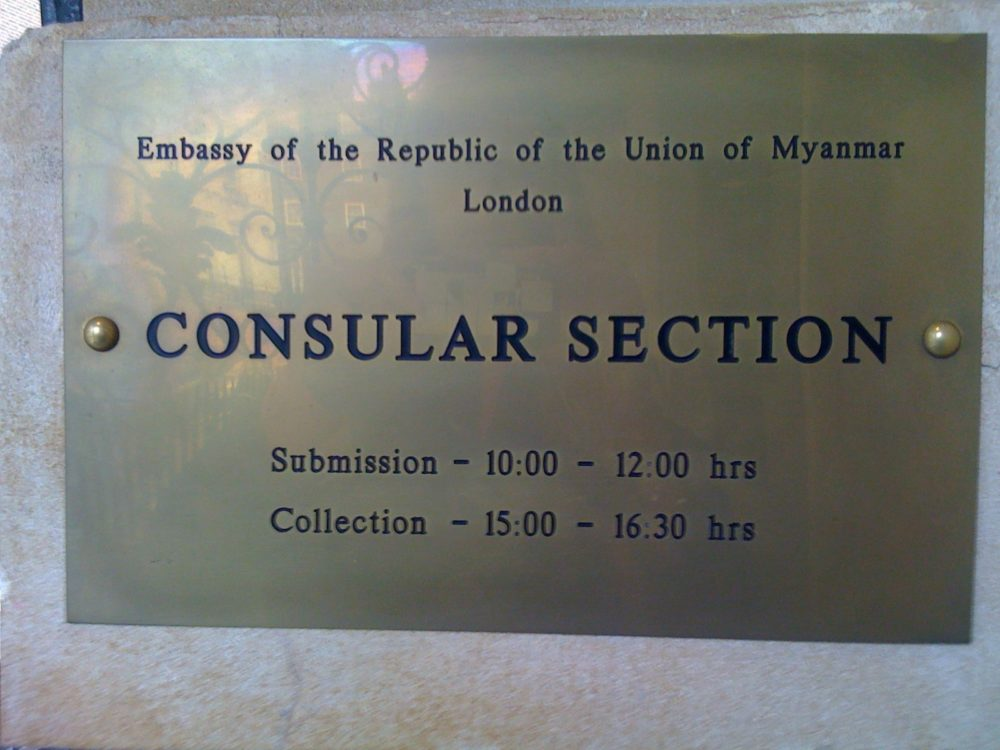 Burmese Embassy - Consular section opening hours