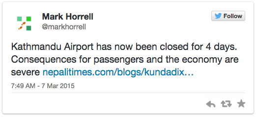 Twitter Tweet - Mark Horrell - March 7, 2015