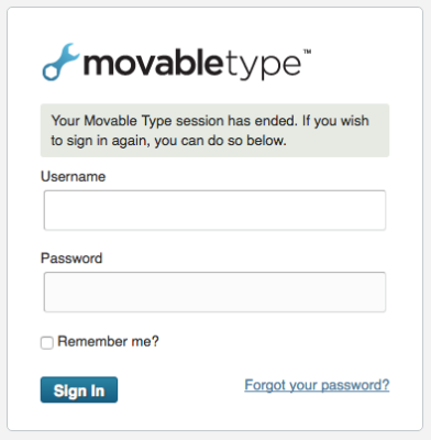 Movable Type log out page