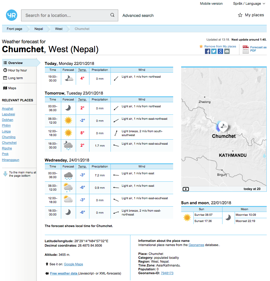 Yr.No screenshot - Weather Forecast for Chumchet, Nepal